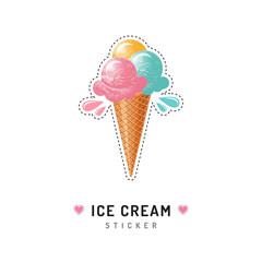 Ice cream sticker or badge, Ice cream cone icons isolated. Trendy 80s pop art design
