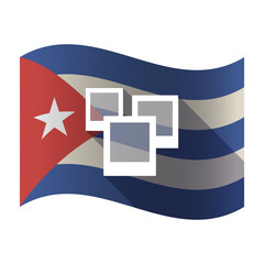 Isolated Cuba flag with a few photos
