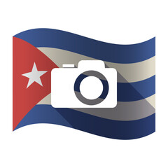 Isolated Cuba flag with a photo camera