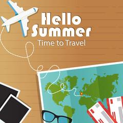 Summer vacation banner. Vector illustration world map, tickets, airplane