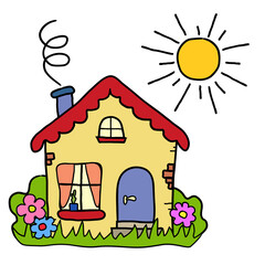 The handmade drawing country house, summer sun