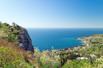 Black Sea - blue lagoon, Crimean resort, view from the mountain-cat