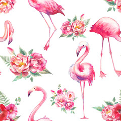 Watercolor flamingo and flowers seamless pattern. Hand painted floral texture with bright exotic birds on white background. Fashion wallpaper design