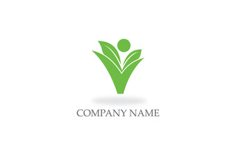 green leaf vegan business logo