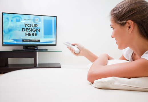 Woman Laying Down to Watch TV Mockup
