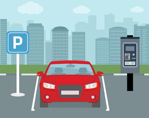 Parking place with one car and ticket machine . Flat style, vector illustration.