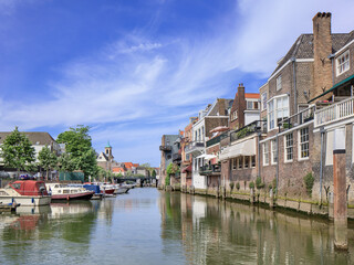 Ancient canal in the historical inner city of Dordrecht, The Netherlands