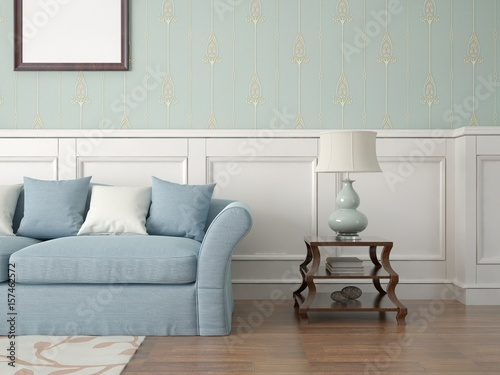 Mock Up A Stylish Living Room With A Comfortable Sofa And Classic