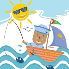 bear as marine fishing at sea cartoon vector illustration