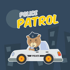 a bear policeman patrol with police car in the city at night cartoon vector illustration