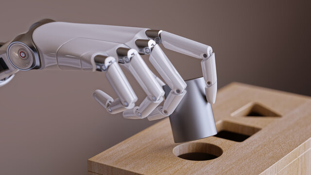 Robotic Hand with Cylinder and Shape Sorting Toy. Machine Learning and Recognition Concept 3d Illustration