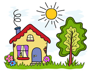 The handmade drawing house, country landscape,  summer sun