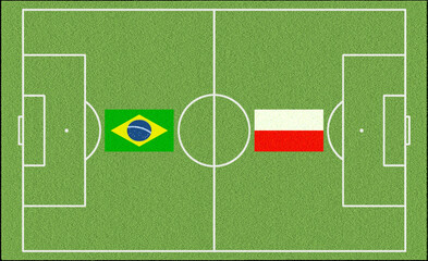 Brazil vs. Poland in football with flags of the two Nations