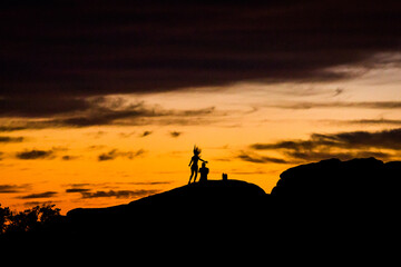 Dancing Silhouette in Mountains