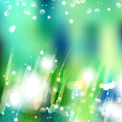 Vector abstract defocused bokeh lights nature spring summer background. Stylish hipster blurry background with bokeh effect for holidays, parties, birthdays. Pure color, simple clean style.