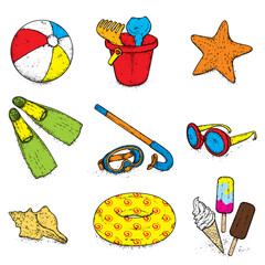 Beautiful set of beach accessories. Ball, baby bucket with toys, inflatable circle, mask and snorkel, ice cream, sunglasses, shell and starfish. Vector illustration. Summer, sea and vacation.