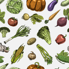Seamless pattern with sketch of vegetables and spices. hand drawn, engraved vegetarian food