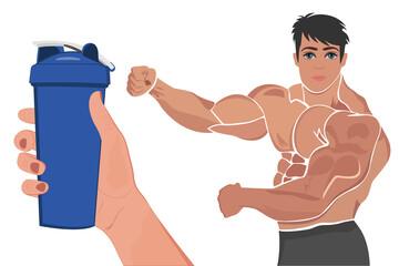 protein shaker and posing bodybuilder, vector illustration