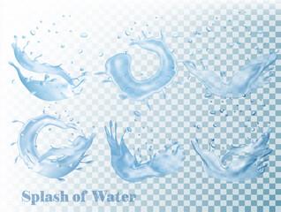Splash of water on transparent background. Vector set