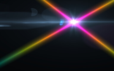 Abstract cross rainbow digital lens flare with black background