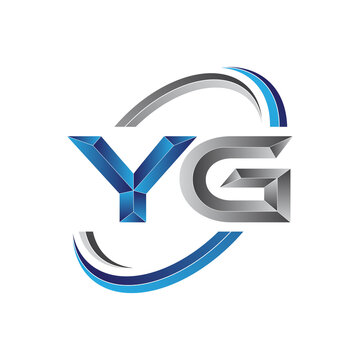 Simple initial letter logo modern swoosh YG