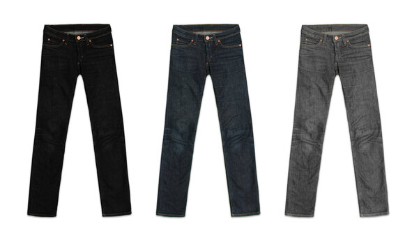 three womens jeans pants, in black, blue and grey, isolated on white background