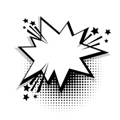 Star empty white comic book text balloon pop art. Bubble icon speech phrase. Cartoon funny label tag expression. Sound boom explosion effects. Advertising vector halftone dot illustration.