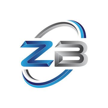 Simple initial letter logo modern swoosh ZB