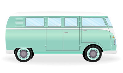 Colorful retro travel bus. Cartoon hippie van isolated on a white background. Vacation vintage vehicle.