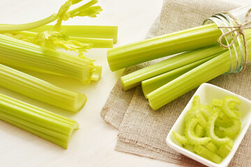 bunch of stalks of a celery