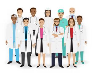 Doctors, nurses and paramedics icons. Group of medical staff. Hospital team. Medicine banner.