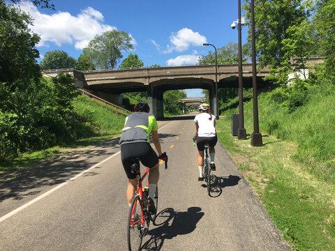 Cyclists on a Bike Path