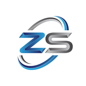 Simple initial letter logo modern swoosh ZS