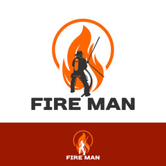 FIRE MAN logo, fire fighter isolated