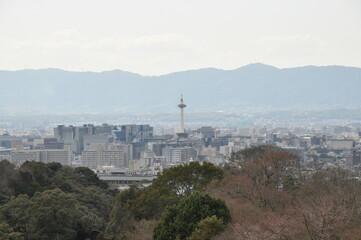 京都タワー 京都の風景 展望 山稜 空 景色