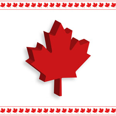 Happy Canada Day! White Background with Canada Flag Leaves