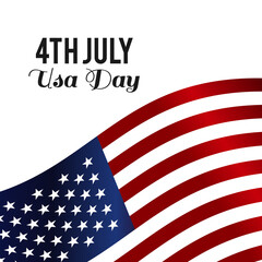 Web4th July! America Day! Happy Independene Day! American Flag on White Background