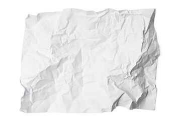 Wrinkled white paper isolated on white background. Clipping path included.