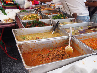 exotic Thai street food at flea market