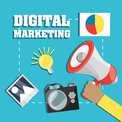 hand and megaphone related with digital marketing, vector illustration
