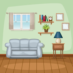 background living room home scene vector illustration
