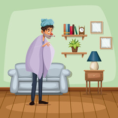background living room home with cold sickness people vector illustration