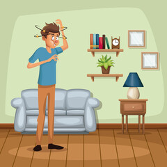 background living room home with dizziness and vomiting sickness people vector illustration
