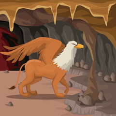 Cave interior background with griff greek mythological creature vector illustration