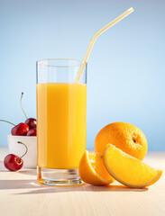 Orange juice, cherry berries and orange.