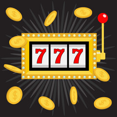 Slot machine. Golden Glowing lamp light. 777 Jackpot. Lucky sevens. Flying coin money. Red handle lever. Big win Online casino, gambling club sign symbol. Flat design. Black shining star background.