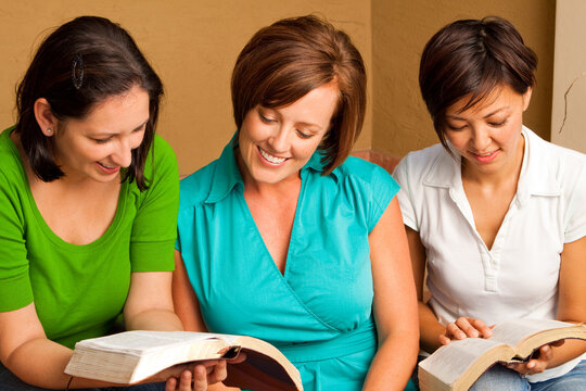 Women's small group Bible Study. Multicultural small group.