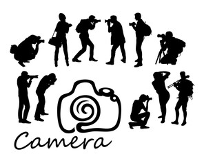 Photographer Hunting Activity Silhouettes, art vector design
