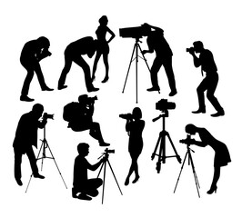 Photographer With Camera Silhouettes, art vector design