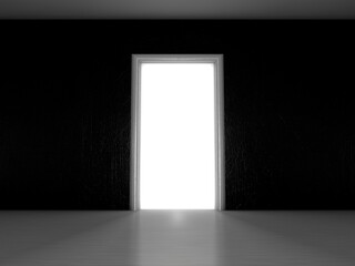 Open door in a room with the outgoing light. 3D rendering